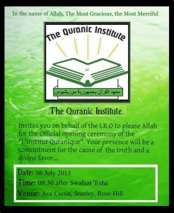 The Quranic institute of the Jamaat-Ul Muslimeen at Rose-Hill  dans message en creole quranic-institute-246x300